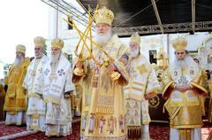 Kiev, Ukraine, the Holy Dormition Kiev-Pechersk Lavra, the celebrations in honor - stock photo
