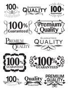Calligraphic Business Assurance Stamps Vector Design Set Stock Illustration