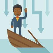 Failure black businessman standing on a sinking boat Stock Illustration