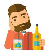 Sad man alone in the bar drinking beer - stock illustration
