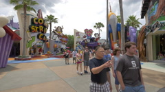 Walking in the Toon Lagoon at Universal Studios, Orlando - stock footage