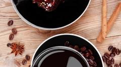 Sweet food : hot black fragrant coffee Stock Footage