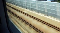 A CRH (China Railway High-speed) train runs on the rail Stock Footage