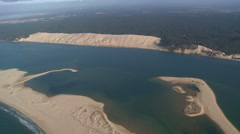Dune and sandbank from helicopter - stock footage
