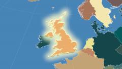 United Kingdom outlined and glowed. Neighbourhood. Administrative - stock footage