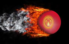 Stock Illustration of Flag with a trail of fire and smoke - Kyrgyzstan