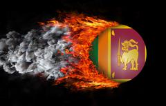 Flag with a trail of fire and smoke - Sri Lanka - stock illustration
