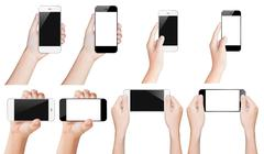 Hand hold smartphone black and white isolated with clipping path inside Stock Photos