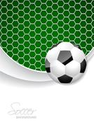 Soccer brochure design with ball and net - stock illustration