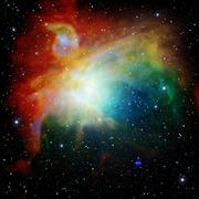 Colorful Universe filled with stars nebula and galaxy - stock illustration