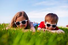 Friends in sunglasses Stock Photos