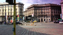 ULTRA HD 4K real time shot, Busy City Italian Old Town Area Milan Stock Footage