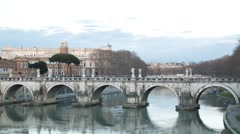 Ponte Sant'Angelo. Sunset. Tibr. Rome, Italy. Time Lapse. 1280x720 Stock Footage