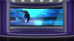News TV Studio Set 72 - Virtual Green Screen Background Loop Stock Footage