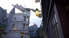 The Gringotts Bank with dragon at Universal Studios, Orlando Stock Footage