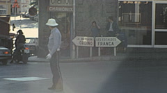 Andorra 1976: traffic policeman working in the street - stock footage