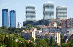 The view of skyscrapers in Besiktas municipality in Istanbul - stock photo
