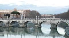 Ponte Sant'Angelo. Sunset. Zoom. Rome, Italy. Time Lapse. 1280x720 Stock Footage