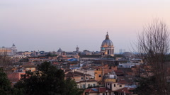 Rome's rooftops, after sunset. Italy. Time Lapse. 4K Stock Footage
