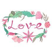 Love Lettering Vignette - stock illustration