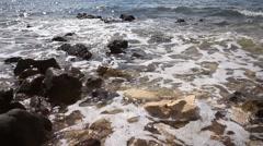 Rocky Beach Sea Shore Waves Sea Foamy Stock Footage