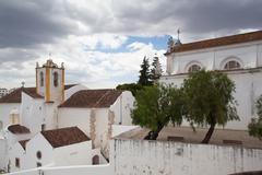 Church of Santa Maria do Castelo before storm,Tavira - stock photo
