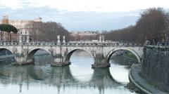 Bridge Sant'Angelo. Sunset. Panorama. Rome, Italy. TimeLapse. 4K Stock Footage