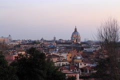 Rome's rooftops, after sunset. Italy. Time Lapse. 4K+ Stock Footage