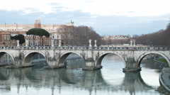 Ponte Sant'Angelo. Sunset. Zoom. Rome, Italy. Time Lapse. 4K Stock Footage