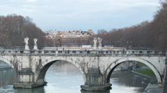 Bridge Sant'Angelo. Sunset. Rome, Italy. Time Lapse. 1280x720 Stock Footage