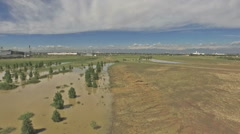 Aerial view of Prairie Gateway Open Space with downtown Denver in background.. Stock Footage