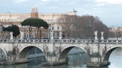 Ponte Sant'Angelo. Sunset. Rome, Italy. Time Lapse. 1280x720 Stock Footage
