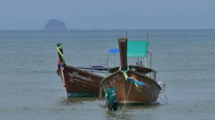 Boats on Ao Nang Beach, Thailand Stock Footage