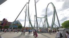 The roller coaster of Marvel Super Hero Island at Universal Studios, Orlando Stock Footage