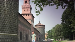 ULTRA HD 4K real time shot,The Castel Sforzesco Castle Milan, Italy Stock Footage