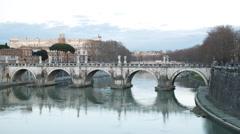 Bridge Sant'Angelo. Sunset. Zoom. Rome, Italy. TimeLapse. 4K Stock Footage