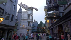 Large dragon on a building at Universal Studios, Orlando Stock Footage