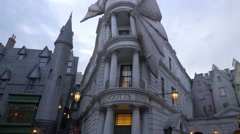 The Gringotts Bank building at Universal Studios, Orlando Stock Footage