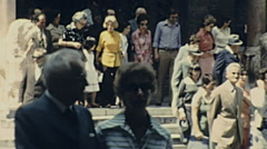 Bergamo, Italy 1976: people leaving the church after the Mass Stock Footage