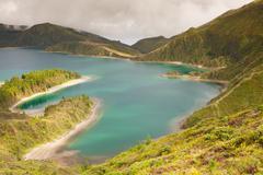 Caldera Lago di Fogo - lake on Azores Islands Stock Photos