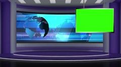 News TV Studio Set 73 - Virtual Green Screen Background Loop Stock Footage