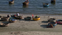 Small rounded boats - stock footage