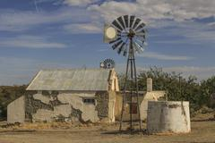 Desolate farm windmill, Western Cape Karoo, South Africa Stock Photos