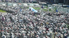 Shenzhen, China: illegal operation of electric bicycles are processed Stock Footage