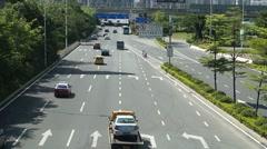 Baoan Shenzhen Avenue traffic landscape Stock Footage