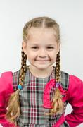Half-length portrait positive four-year girl - stock photo