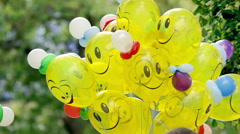 Yellow baloons with smiles Stock Footage