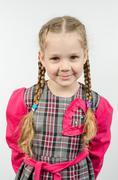 Half-length portrait four-year girl Europeans - stock photo