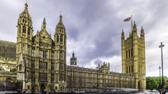 Time lapse view of the House of Parliament in London Stock Footage