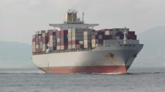 Stock Video Footage of OOCL Container Ship-2-Half-side View
